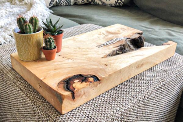 Decoratie plank met cactusjes, Lindenhout