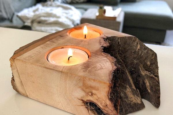 Kaarsenhouder van resthout